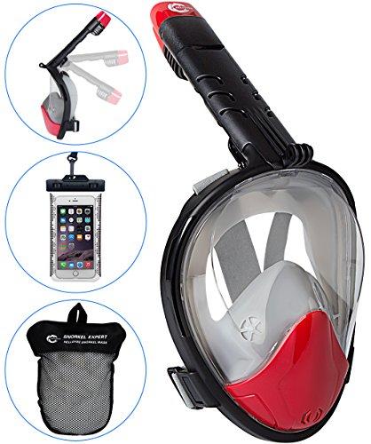 Helloyee panoramica maschera da snorkeling compatibile con gopro per adulti e bambini, pieno-facciale maschera da snorkel anti-nebbia antiperdita design con telefono impermeabile pouch