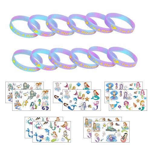 ZERHOK 12Stk Meerjungfrau Leuchten Armbänder mit 10tlg Mermaid Tattoos mitgebsel Silikonarmband für Mädchen Kinder Geburtstag Geschenke Meerjungfrau Party - Geschenk Mädchen Party Geburtstag