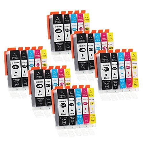 30 Druckerpatronen mit Chip und Füllstandsanzeige kompatibel zu Canon PGI-550 / CLI-551 passend für Canon Pixma IP-7250 IX-6850 MG-5450 MG-5550 MG-5650 MG-5655 MG-6450 MG-6650 MX-725 MX-920 MX-925