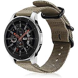 FINTIE Correa para Samsung Galaxy Watch 46mm / Gear S3 Classic/Gear S3 Frontier/Huawei Watch GT - 22mm Pulsera de Repuesto de Nylon Tejido Banda Ajustable con Hebilla de Metal, Caqui