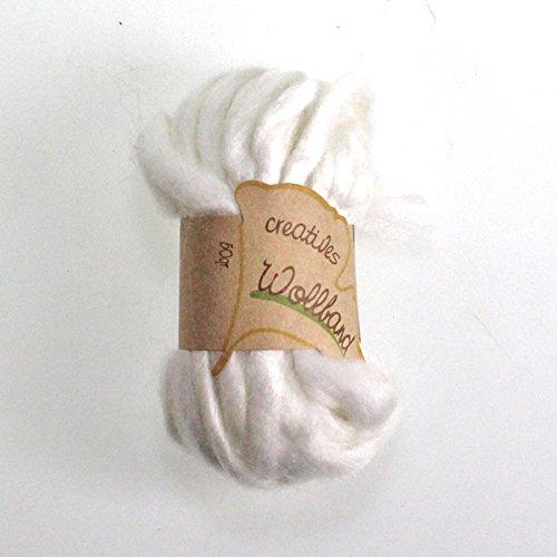 N/A Wollband Wollschnur Wolle Dekowolle Wollkordel Bastelwolle Filzkordel 9m, Farbe:weiß