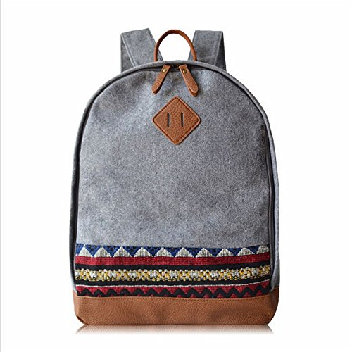 BYD - Blue Male Femme Sacs portés dos Bag School Bag Travel Bag PU en Cuir Bottom Gris