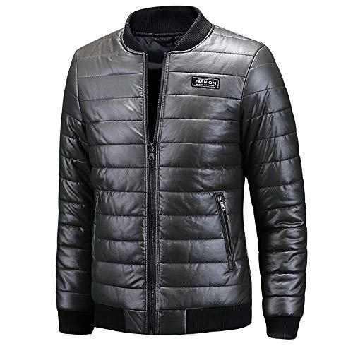 Trench uomo ashop giacca da outwear casual manica lunga jacket oversize cappotto imbottita in pelle con collo tinta unita a maniche lunghe verde xxx-large