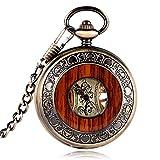 Reloj de bolsillo mecánico con caja de madera, con números romanos, estilo vintage, con grabado de estilo floral de lujo en el dial, con cadena