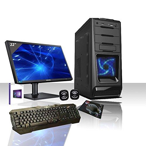 Ordenador de sobremesa CASC02 con LED azul, Intel Quad Core con Windows 10 Professional de 64 bits original, WiFi, Disco duro de 1 TB SATA III, 8 GB de RAM 1600 Mhz, HDMI-DVI-VGA, USB 2.0 y 3.0 SD audio, vídeo, LAN, monitor LED HD de 22 pulgadas Samsung VGA, enchufe vesa, teclado y ratón de gaming multicolor, listo para usar, para multimedia, juegos, oficina, gaming, carcasa Alantik CASC02