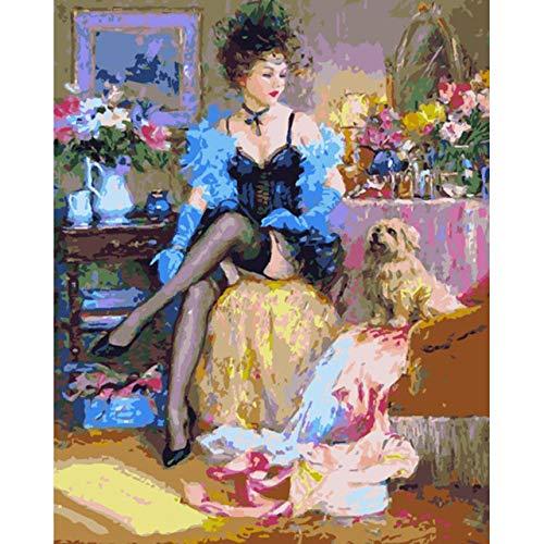 Malen Nach Zahlen Bild Frauen DIY Malen nach Zahlen Figur Malerei einzigartiges Geschenk Home Wand Kunst Dekor Kits Malen nach Zahlen gerahmt 40x50 cm -