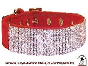 "Designer Red Velvet Diamante Dog Collar size 16""-20"" from Gorgeous George"