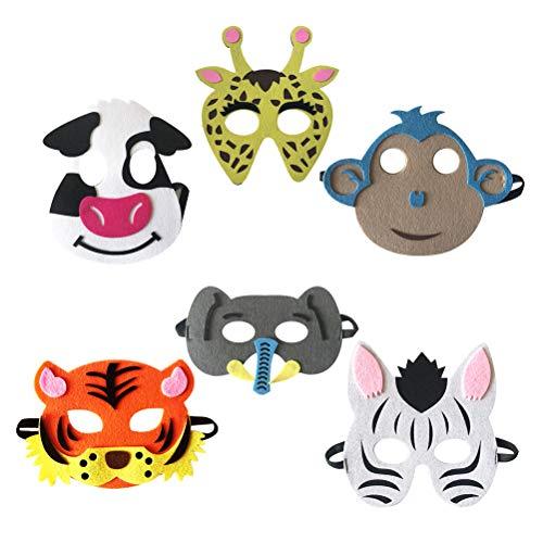 Amosfun 6 Piezas Máscara de Niños de Animal Elefante Mono Caretas Infantiles Accesorio de Fiesta para Niños