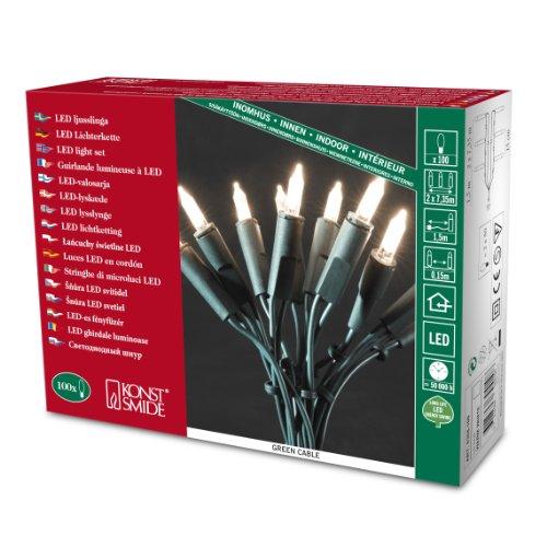 Konstsmide 6304-100 LED Minilichterkette 100 warm weiße Dioden / Retro Design / 230V / für Innen / grünes Kabel