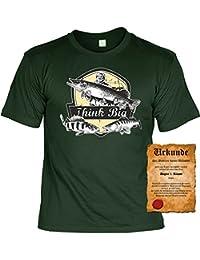 Angler Fun T-shirt - Think Big Hecht Zander Barsch! - Tshirt mit Urkunde! Fischer Geburtstag