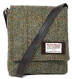 Harris Tweed Kleine Umhängetasche mit Lederbesatz (Braun)