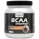SanaExpert BCAA Intense, Amino Ácidos 2: 1: 1, L-Leucina, L-Valine and L-Isoleucina, bebida deportiva para 38 raciones, Sabor a té helado de melocotón, BCAA Polvo, 500g