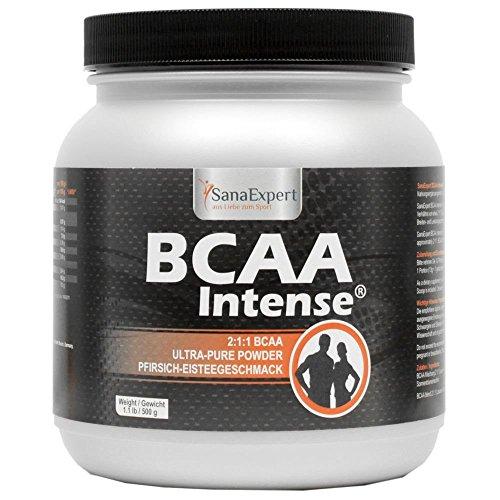 SanaExpert BCAA Intense, Aminosäuren 2:1:1, L-Leucin, L-Valin und L-Isoleucin, Sportgetränk für 38 Portionen, Pfirsich-Eisteegeschmack, BCAA Pulver, 500g