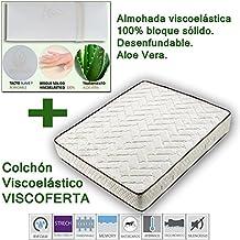 VISCOPACK: COLCHÓN VISCOELASTICO VISCOFERTA + ALMOHADA VISCO 100% BLOQUE SÓLIDO