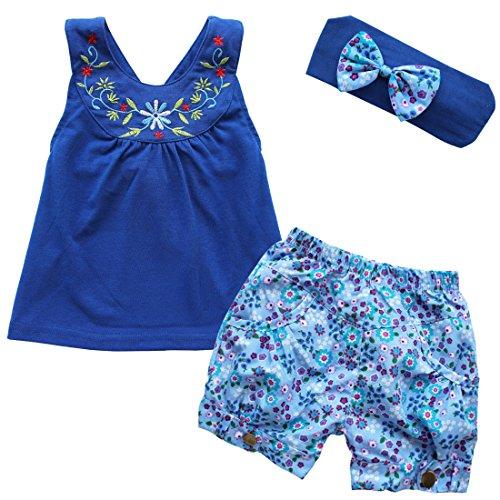 iEFiEL Pantalones de Cortos de Flores + Camiseta de Tirantes Bordada + Cinta de Cabeza con Lazo para Niña Bebé Recién Nacido Conjunto de Tres Piezas Azul Oscuro 9-12 Meses