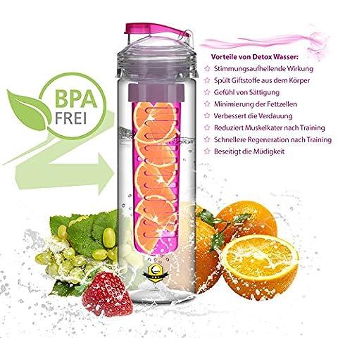 Lunata® Bouteille a Infusion, Gourde avec récipient à fruits, gourde de sport pour jus de fruits mélangés à de l'eau minérale, gourde d'eau avec compartiment infuseur à fruits 800 ml, en Tritan, sans BPA