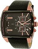 Diesel Men's Leather Band Steel Case Quartz Black Dial Chronograph Watch DZ7351