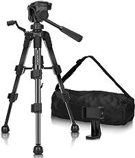 Kamera Stativ – MACTREM Fotostativ MINI Stativ Reisestativ 53CM Tripod 3KG unterstützend mit Handyhalter mit Rutschfestem Wasserwaage leicht aus Aluminiumlegierung für GOPRO, Iphone, Canon, Nikon, Handy usw (SCHWARZ)