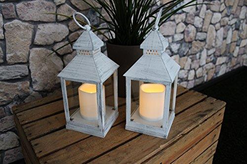 2er Set | Romantisch dekorative LED Laternen 24 cm x 10 cm