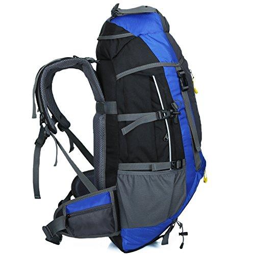 Backpacker Rucksack SHTH Outdoor Sport Trekking Rucksack Bergsteigen Klettern Knapsack mit Regen-Abdeckung für Camping Wandern Reisen 75 X 30 X 20 cm 65+5L Dunkelblau