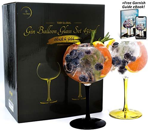 Toby Global Gin Ballongläser, 450 ml, mundgeblasen, bleifreien Kristall-Gin-Glas, geformt für Geschmack, Gin und Tonic
