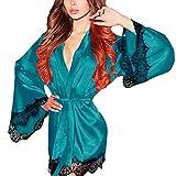 TEBAISE Damen Welle Saum Kimono Satin Morgenmantel mit Spitze Nachthemd Sehr Weich und Soft Seidenrobe Glatt Nachtwäsche Gürtel