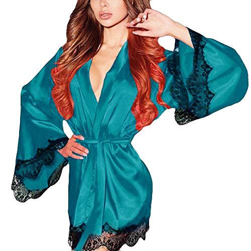 KPILP Damen Bademantel Silk Kimono Dressing Elegant Morgenmantel Babydoll Dessous Nachtwäsche Nachtwäsche Negligees(A-grün,EU-40/CN-L