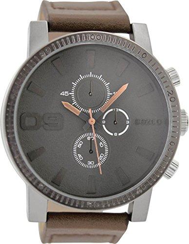 Oozoo Herrenuhr mit Lederband 50 MM Grau/Dunkelbraun C9032