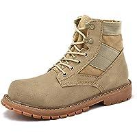 Lingqiqi Bota de Hombre Botas de Tobillo de Cuero OX de la Personalidad Casual de Gran tamaño de Gamuza Zapatos de Trabajo Superiores Invierno (Color : Cream-Coloured, tamaño : 40 EU)