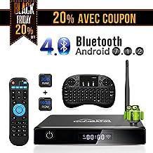 GooBang Doo Android 7.1 Smart TV Box, 2018 XB-III Boîtier TV 2Go RAM 16Go ROM Quad Core Réel 4K H.265 WiFi 2.4GHz Bluetooth V4.0 avec Mini Clavier Touchpad sans Fil
