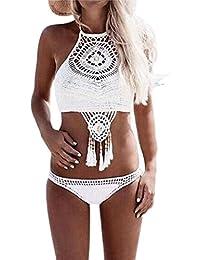 Vovotrade Bohémien Maillot de Bain Fait Main Tricoté Sexy Split Bikini Plage Frangée