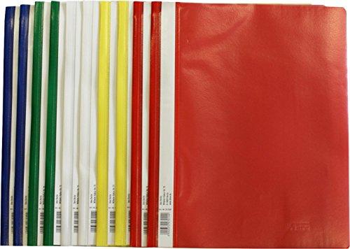 Preisvergleich Produktbild Schnellhefter A4, aus Kunststoff, 30 Stück, 5 Farben, 6 x blau/weiß/gelb/grün/rot (30, A4 normal )