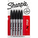 Sanford marqueurs permanents de sharpie fine point 5/pkg-noir