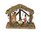 Viscio Trading Casa & Christmas cabaña con Belén, Madera, 9.5x 16x 13cm, 4Unidad