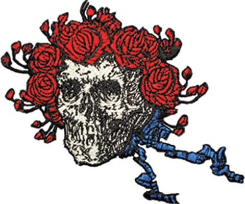 "GRATEFUL DANKBAR DEAD Skull Schädel and Roses Patch Fleck - Officially Licensed Classic Rock GDP Artwork, 4.5"" x 4"", Iron-On / Sew-On EmbroideRed rotBestickt Patch Fleck"
