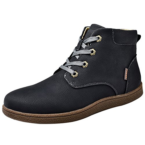 Winter Stiefel, Gracosy Unisex Martin Stiefel Classic Boots Lederschuhe Kurzschaft Stiefel Outdoor Sneakers Stiefeletten für Damen Herren Schwarz 46