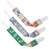 GAGAKU 3 Pack Chupete Cadenas Mordedor con Soporte Universal de Chupete Clip Soporte Para Niñas y Niños - Ambos Lados