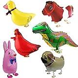 Signstek 6 Stk Zu Fuß Tier Ballons Folienballon deko ballon Party Kinder Geschenk für Party und Geburtstag (Häschen, Dinosaurier, Pferd, Ente, Huhn, Hund)
