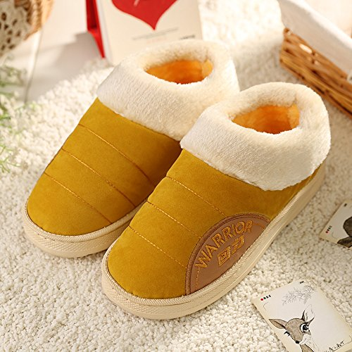 Cotone fankou pantofole borse con un paio di spessi home inverno caldo indoor anti-slip maschio Hellbraun