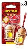 AREON Fresco Auto Duft Wassermelone Autoduft Flasche Glas Duftflakon Parfüm Flakon Holz Luft Aufhängen Hängend Anhänger Spiegel Rot 4ml 3D (Watermelon Pack x 3)