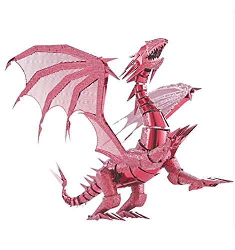 D-Mcark 3D Metal Art Metal Works Laser Cut Dragon Puzzles Toys Model Buliding Kits for Kids Adults Red