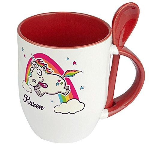Löffeltasse mit Namen Karen - Motiv Verrücktes Einhorn - Namenstasse, Kaffeebecher, Mug, Becher, Kaffeetasse - Farbe Rot