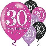 Feste Feiern Geburtstagsdeko Zum 30 Geburtstag I 6 Teile Luftballon Set Pink Schwarz Violett metallic Party Deko Happy Birthday