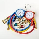 Aozzy a/c aire acondicionado Colector Calibrador Set Juego Manometro con R134A R12 R22 R502 acopladores A / C Kit de refrigeración Kit de manómetro Conjunto de aire acondicionado Herramienta de servicio