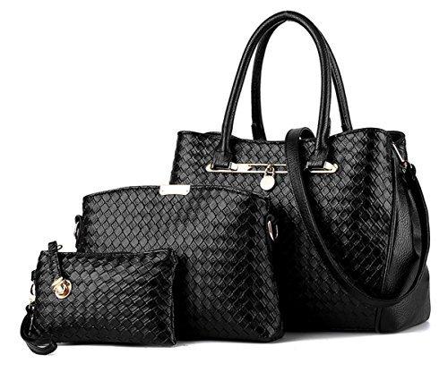 Tibes Mode Handtasche Frauen Pu-Leder Geldbörse 3er Set Gesponnene Tasche Luxus Umhängetasche Mädchen Tasche, Medium, Schwarz