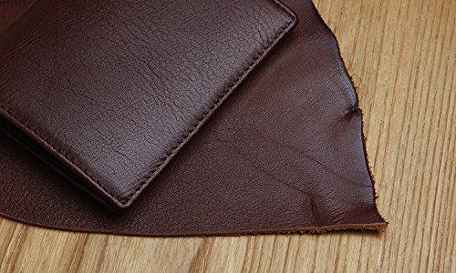 Herren Leder Leder kleine Brieftasche Leder Geldbörse Geldbeutel schlanke ultra kleine Tasche Tasche, schwarz claret
