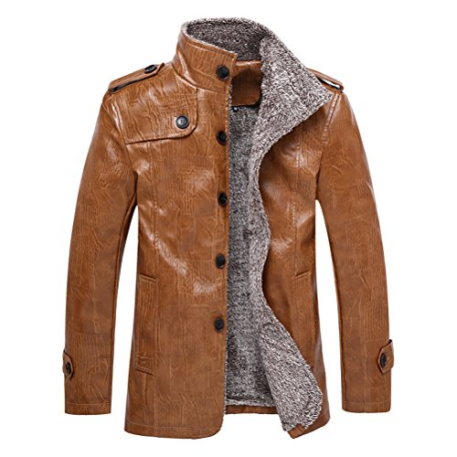 Brinny Veste d'hiver cuir artificiel blouson en cuir fourrure polaire manteau de hommes Kaki