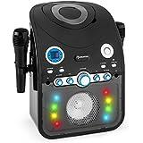 auna StarMaker Chaîne karaoké Bluetooth avec lecteur CD (8 LED multicolores, 2 micros inclus, ...