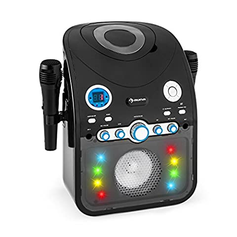 Auna StarMaker Karaoke System CD Bluetooth CD-Player AUX LED Lighting Effect (2 x Dynamic Cable Microphones, A / V Output, Programmable Playback) Black