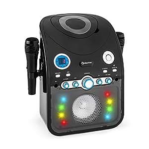 auna Starmaker Impianto Karaoke bluetooth con effetti luce multicolore e lettore CD (2 microfoni, effetti luce multicolore, cavo A/V) - nero opaco